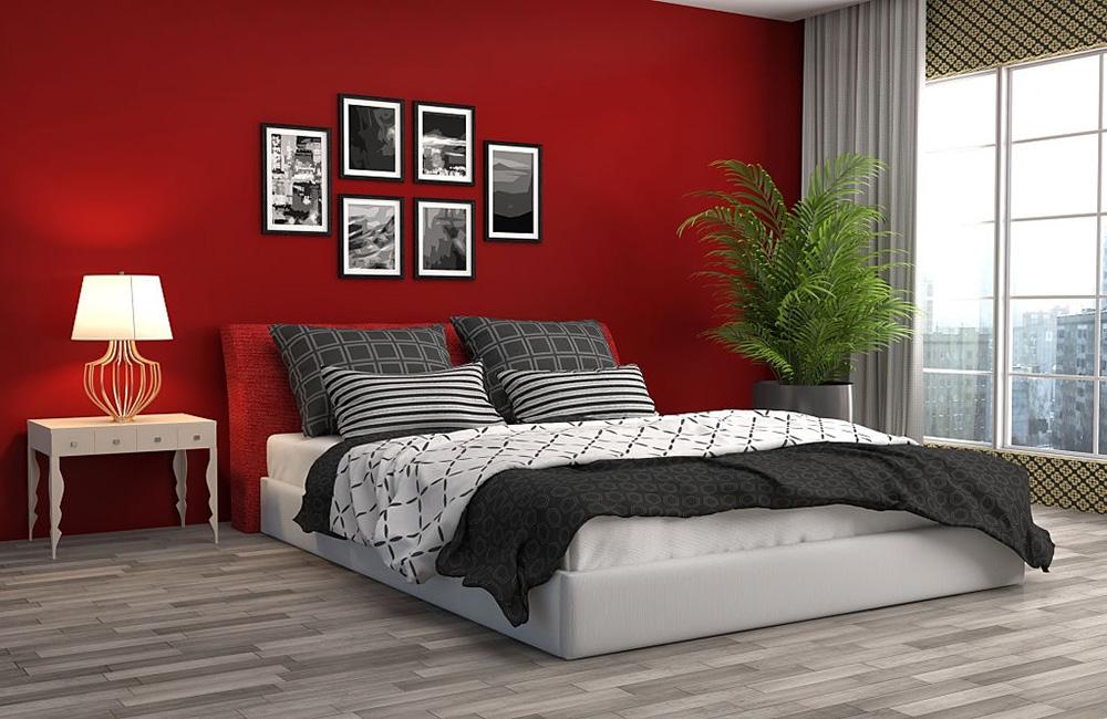 Kırmızı Duvarlı Yatak Odası