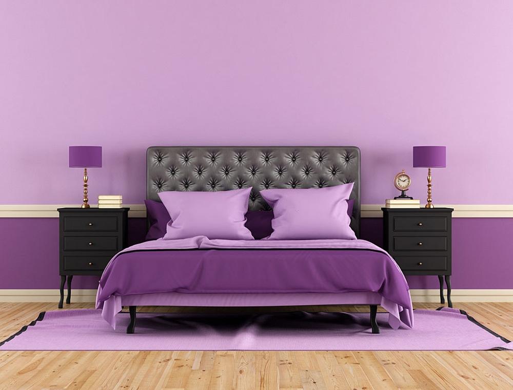 Mor Duvarlı Yatak Odası. Yatak Odası Duvar Renkleri Nasıl Olmalı ?