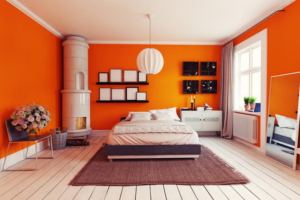 Turuncu Duvarlı Yatak Odası. Yatak Odası Duvar Renkleri Nasıl Olmalı ?