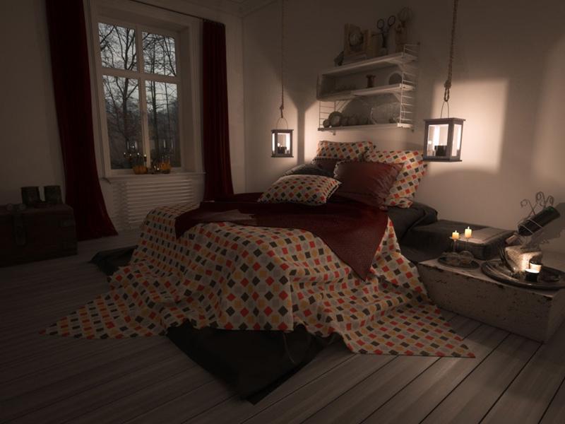 Loş Işıklı Yatak Odası