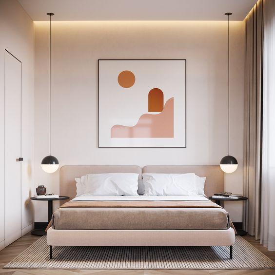 Pastel Tonlarda Yatak Odası